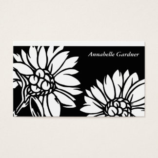 Black and White Floral Business Card