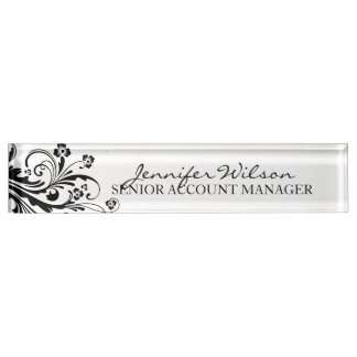 Black and White Floral Chic Nameplate