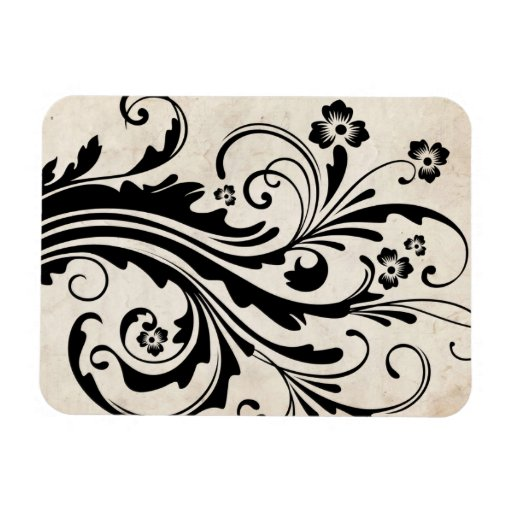 Black and White Floral Chic Wedding Rectangle Magnets