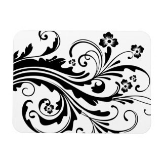 Black and White Floral Chic Wedding Vinyl Magnets
