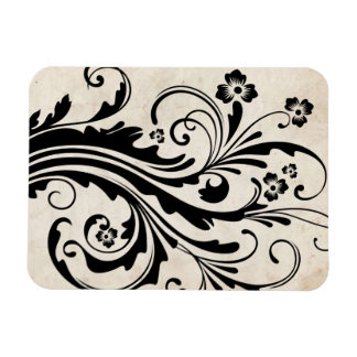 Black and White Floral Chic Wedding Rectangular Photo Magnet