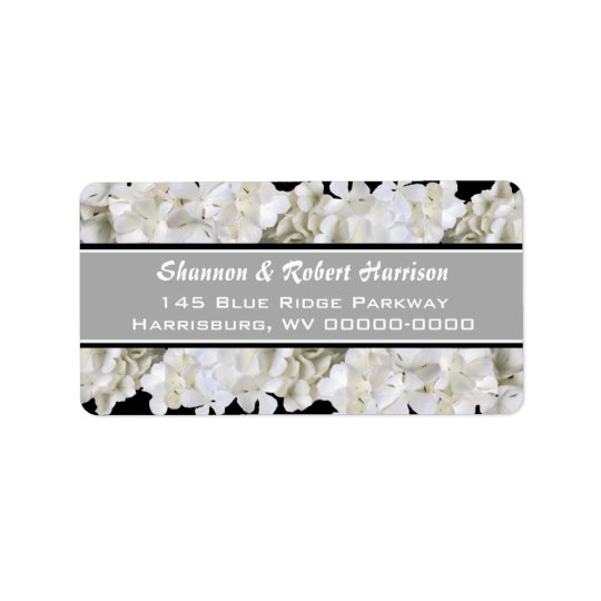 Black and White Floral Custom Address Labels