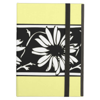 Black and White Floral Daisy Border on Yellow Cover For iPad Air