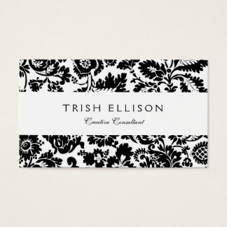 Black and White Floral Damask Business Card