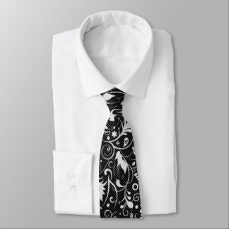 Black and White Floral Damask Pattern Tie