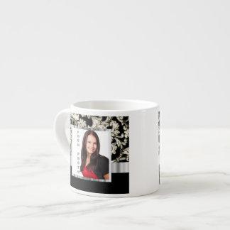 Black and white floral damask template espresso mug