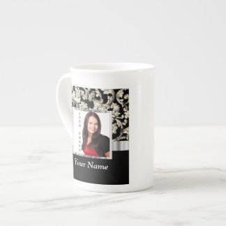 Black and white floral damask template tea cup