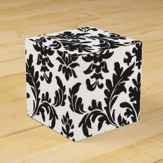 Black And White Floral Damask Wedding Party Gift Favour Box