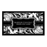 Black and White Floral Damask Wedding Planner Business Card Templates