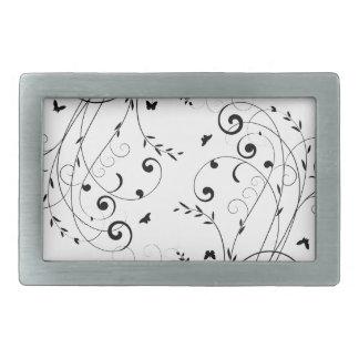 Black and white floral design belt buckles