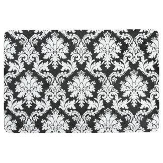 BLACK AND WHITE FLORAL DESIGN FLOOR MAT