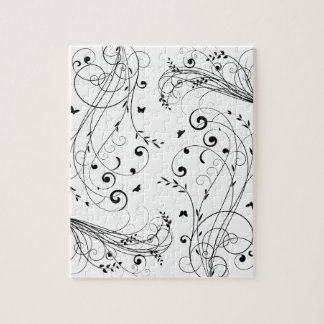 Black and white floral design jigsaw puzzle