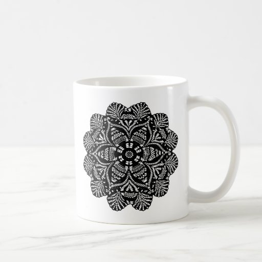 Black and White Floral Design Coffee Mug
