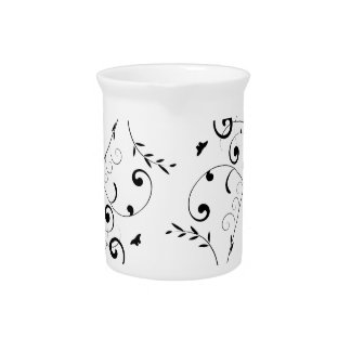 Black and white floral design pitcher