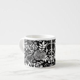 Black and White Floral Espresso or Eggnog Mug Espresso Mug