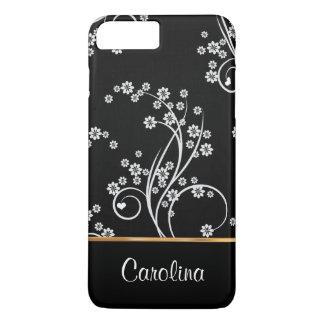 Black and white floral, faux gold foil iPhone 8 plus/7 plus case