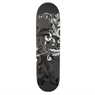 Black and White Floral Flourish 20.6 Cm Skateboard Deck