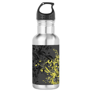 Black and White Floral Flourish 532 Ml Water Bottle