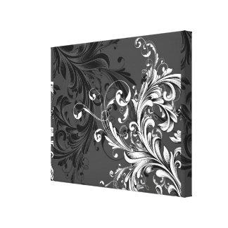 Black and White Floral Flourish Canvas Print