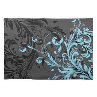Black and White Floral Flourish Placemat