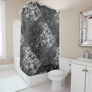 Black and White Floral Flourish Shower Curtain