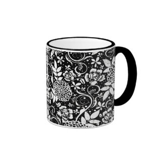 Black and White Floral Flowers Classic Mug