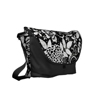 Black and White Floral Flowers Messenger Bag