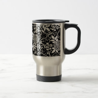 Black and White Floral Flowers Travel Commuter Mug