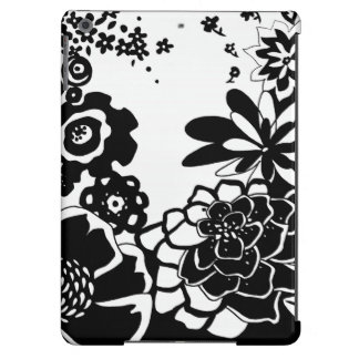 Black and White Floral Garden Graphic Pattern iPad Air Cover