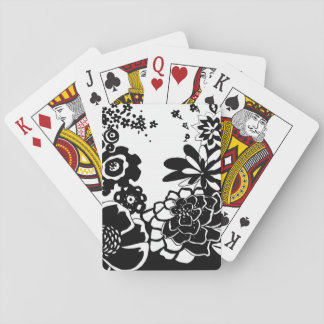 Black and White Floral Garden Graphic Pattern Playing Cards
