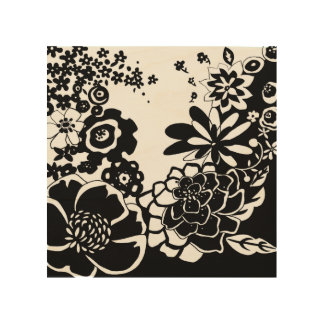 Black and White Floral Garden Graphic Pattern Wood Wall Decor