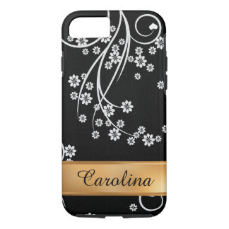 Black and White Floral, Gold Name iPhone 8/7 Case