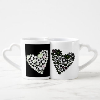 Black and White Floral Heart Mugs Lovers Mugs