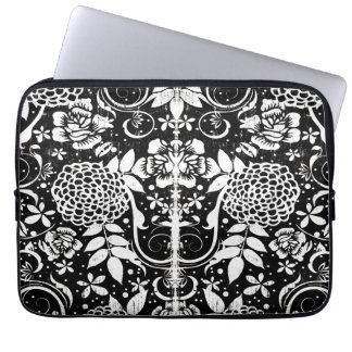 Black and White Floral Laptop Computer Sleeve