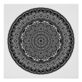 Black and White Floral Mandala Poster