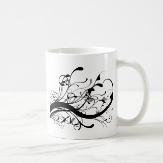Black and white floral coffee mugs