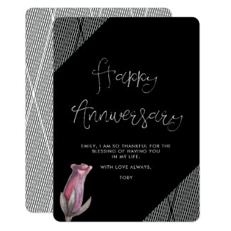 Black and White Floral Netting Look Anniversary Card