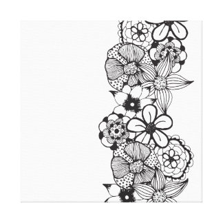 Black and White Floral Outline Stretched Canvas Print
