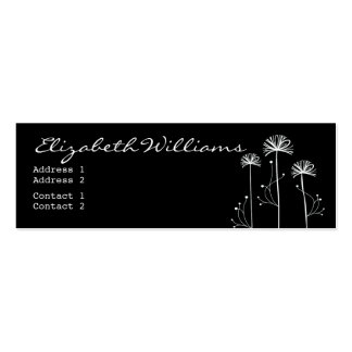 Black and White Floral Pack Of Skinny Business Cards