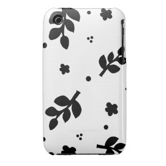 Black and White Floral pattern iPhone 3 Covers