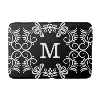 Black and white floral pattern monogrammed bath mat
