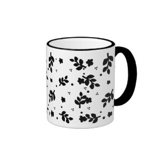 Black and White Floral pattern Ringer Coffee Mug