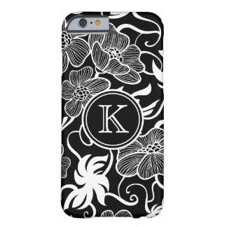 Black and White Floral Pattern with Monogram Barely There iPhone 6 Case