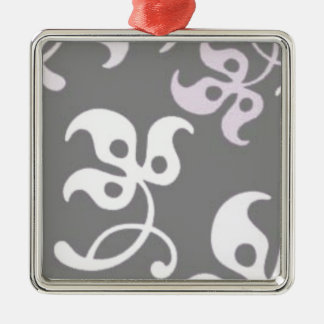 Black And White Floral Print Christmas Tree Ornament
