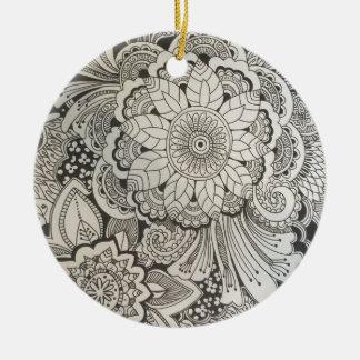 Black and White Floral Round Ceramic Decoration