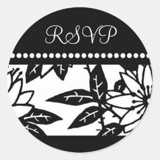 Black and White Floral RSVP Envelope Seals Round Sticker
