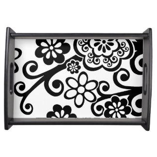 Black and White Floral Serving Tray
