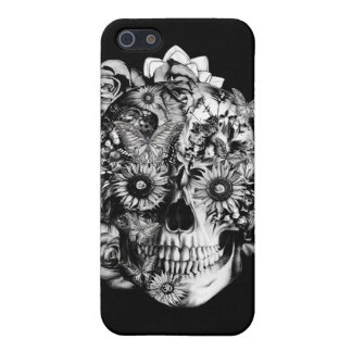 Black and white floral skull cover for iPhone 5/5S