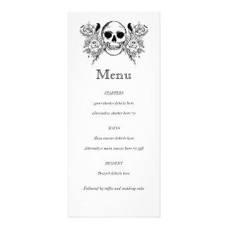 Black and white Floral skull tattoo menu
