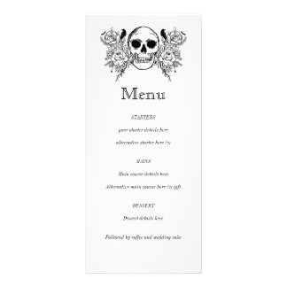 Black and white Floral skull tattoo menu Rack Card Template